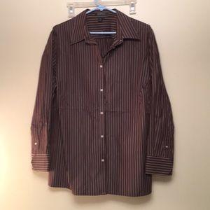 Ralph Lauren brown and white stripe shirt 2X